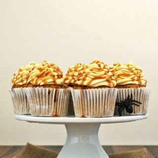 Pumpkin Cupcakes with Maple-Cinnamon Cream Cheese Frosting and Salted Bourbon Caramel