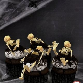Halloween Chocolate Cupcakes with Marshmallow Frosting