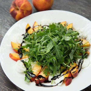 Peach and Burrata Arugula Salad