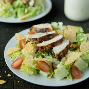 Lemon Pepper Chicken Caesar Salad with Creamy Dressing