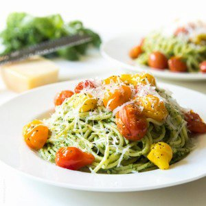 Kale Walnut Pesto & Blistered Tomato Pasta