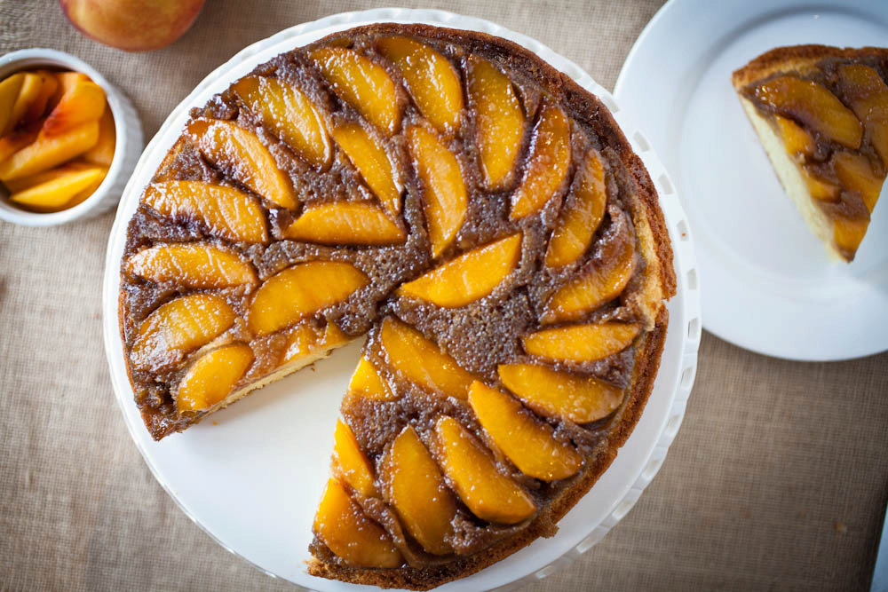 Whisky Peach Upside-Down Cake