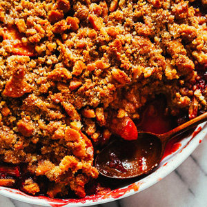 Apricot, Plum, and Rhubarb Shortbread Crumble