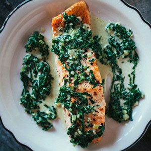 Roasted Salmon with Creamy Greens