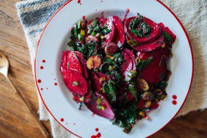 Curried Beet Salad with Beet Greens and Fava Beans
