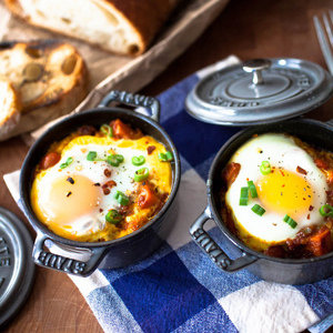 Spicy Baked Eggs with Sweet Potatoes