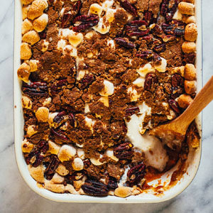 Brown Butter Sweet Potato Casserole with Pecan Streusel and Marshmallows