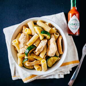 Spicy Chicken Pasta Salad with Zucchini and Fennel
