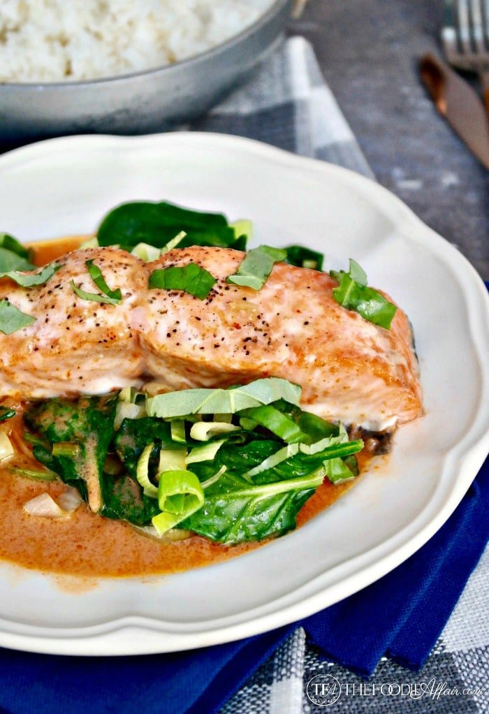 Baked Salmon with Coconut Red Curry Sauce