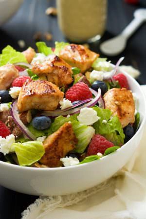 Blueberry, Goat Cheese Chicken Salad with Peanut Djion Dressing