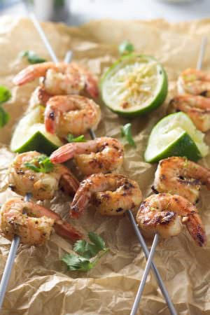Spicy Cilantro Shrimp Skewers with Honey Lime Dipping Sauce