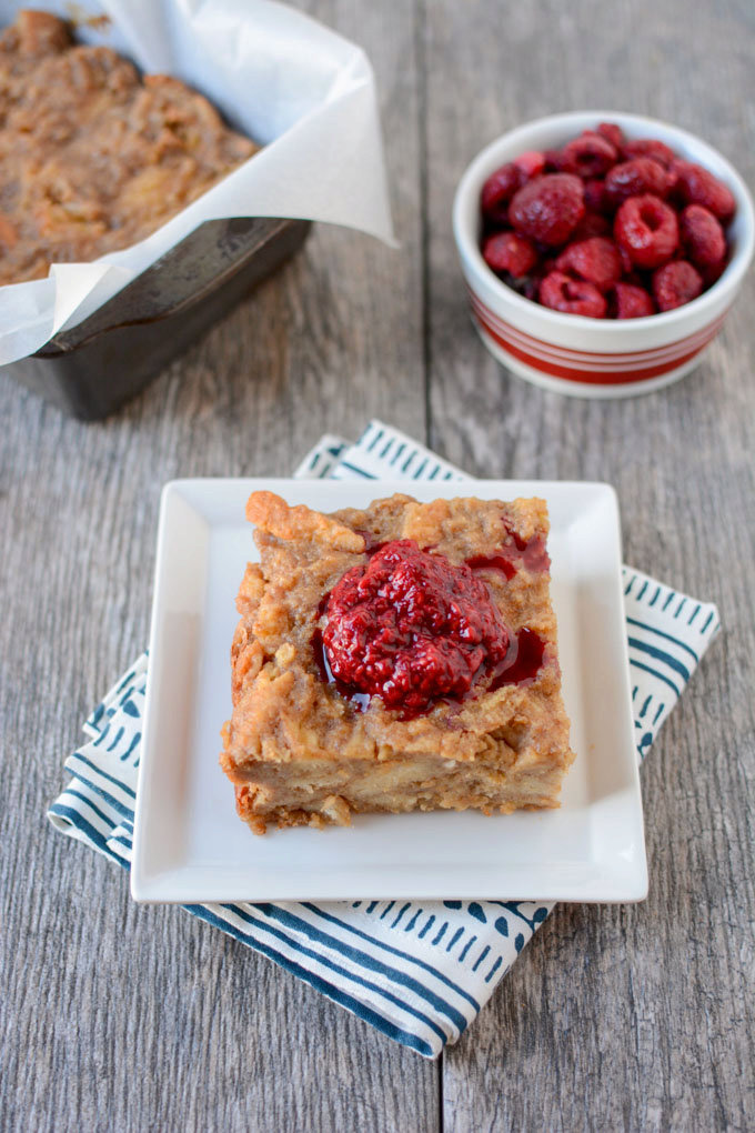 Peanut Butter Bread Pudding with Smashed Raspberries