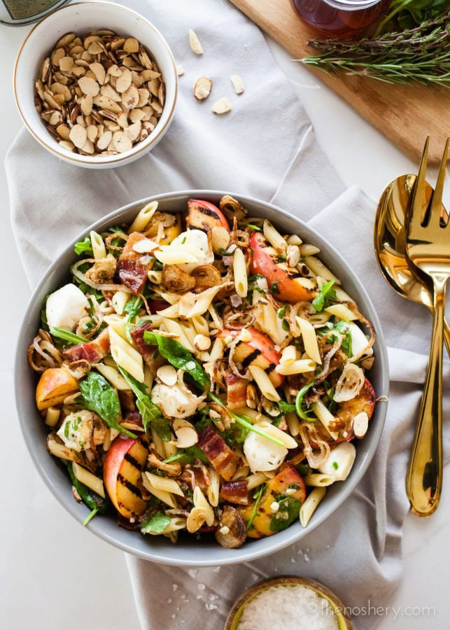 Grilled Peach and Bacon Pasta Salad with Honey Herb Vinaigrette