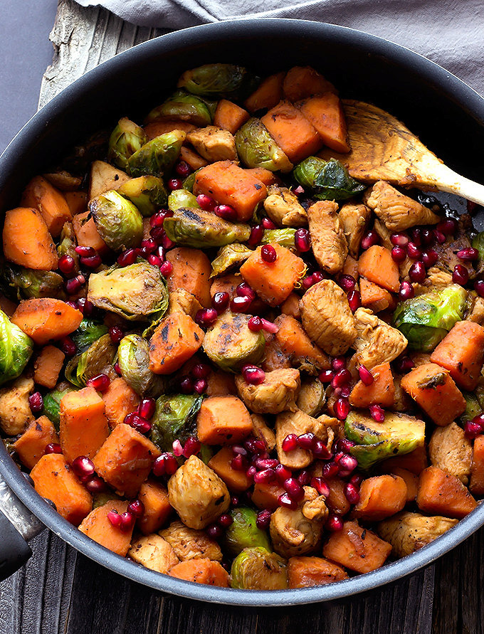 Pomegranate Chicken with Sweet Potatoes & Brussels Sprouts recipe