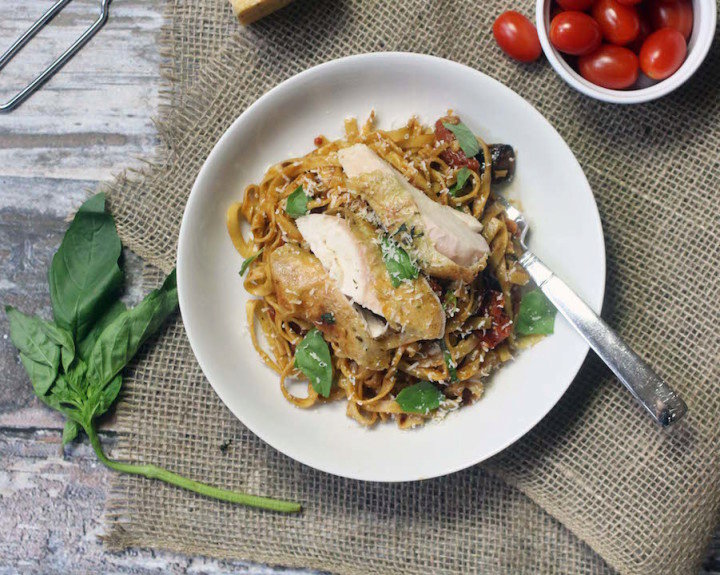 Winter Mediterranean Pasta with Roasted Chicken