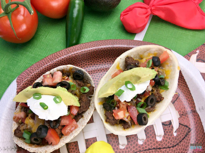 Mexican Pizza Recipe Made In Portable Tortilla Boats For Game Day!
