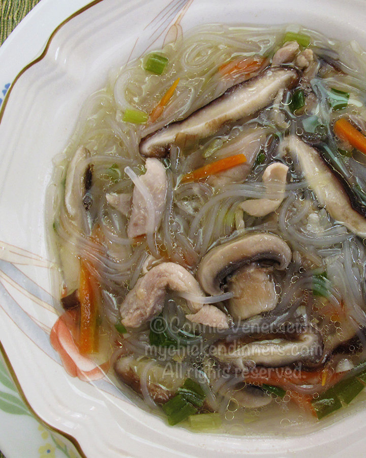 Chicken Soup With Mushrooms and Vermicelli