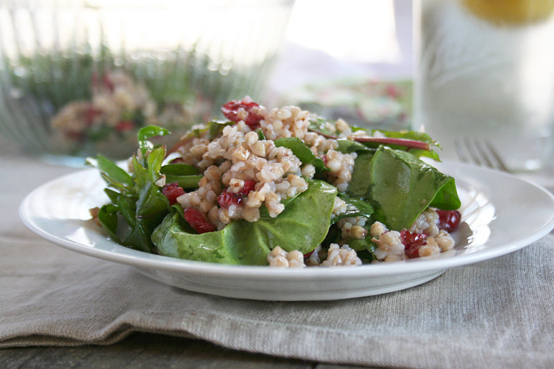 A Roasted Buckwheat Salad with Dark Leafy Greens and Cranberries
