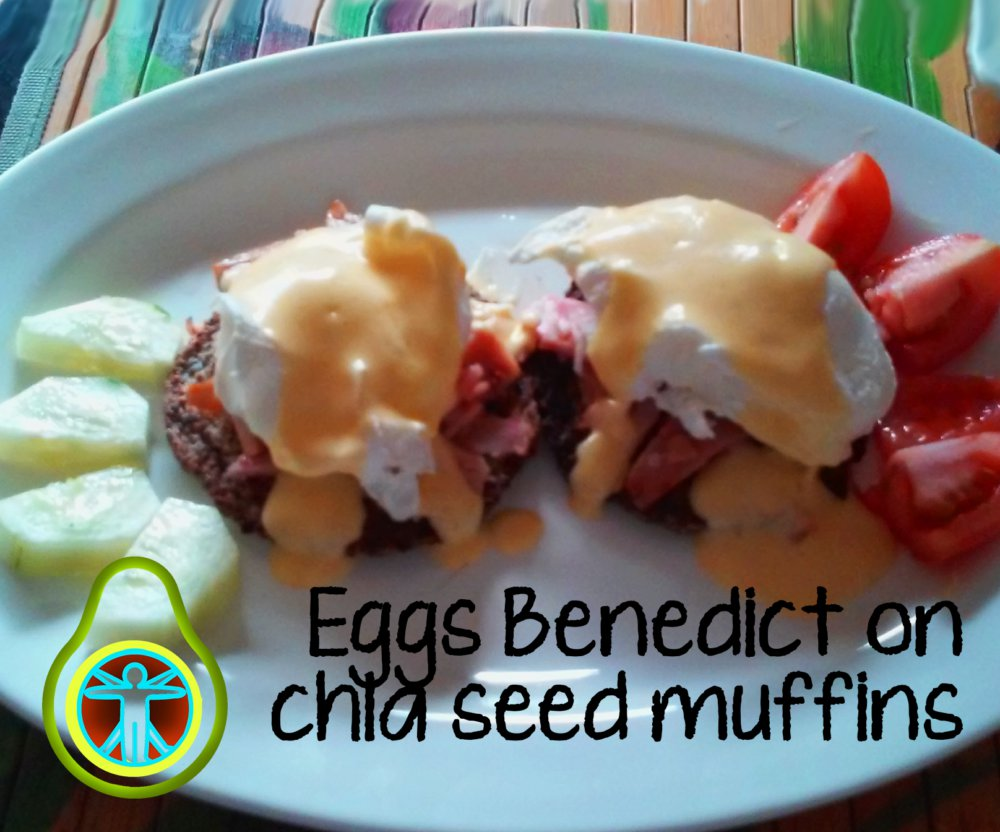 Eggs Benedict on Chia Seed Muffins