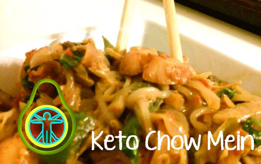 Keto chow mein with shrimp