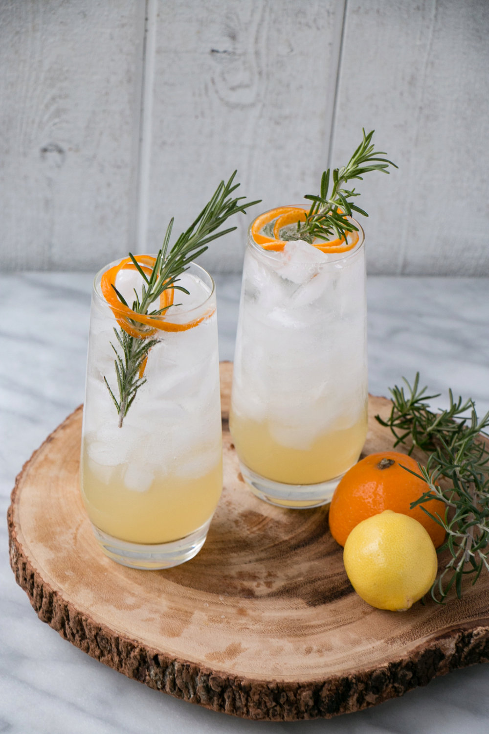 Meyer Lemon and Rosemary Tom Collins