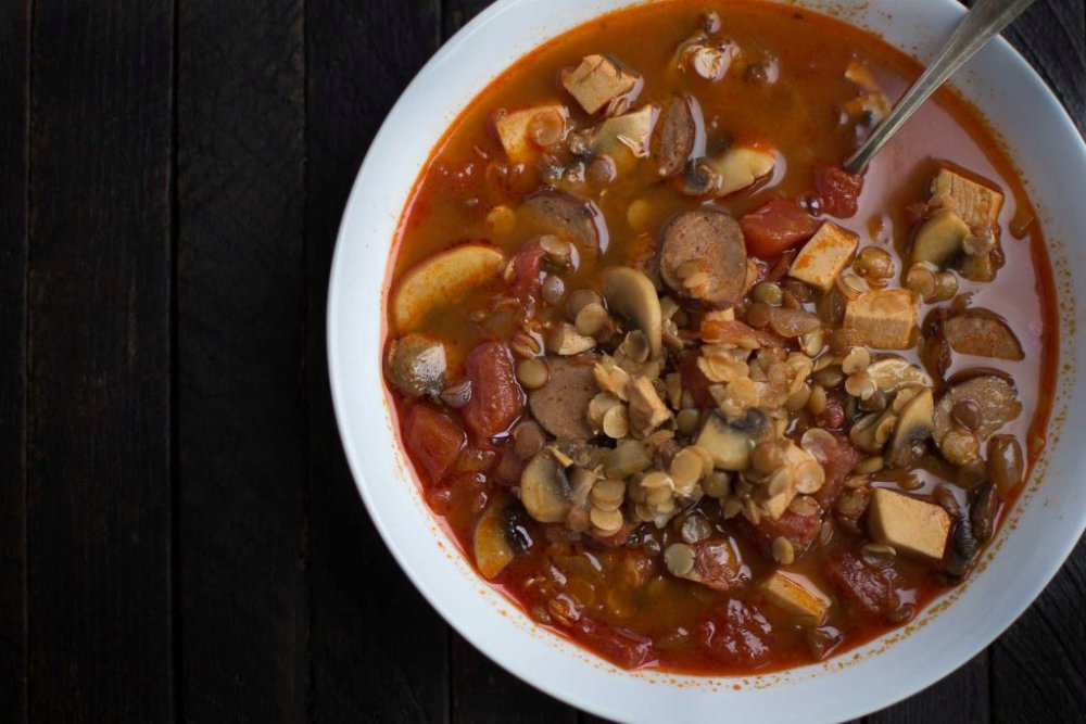 Smoky Sprouted Lentil Soup with Mushrooms, Turkey and Andouille Sausage