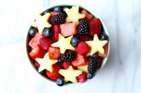 red, white and blue fruit salad with honey citrus dressing
