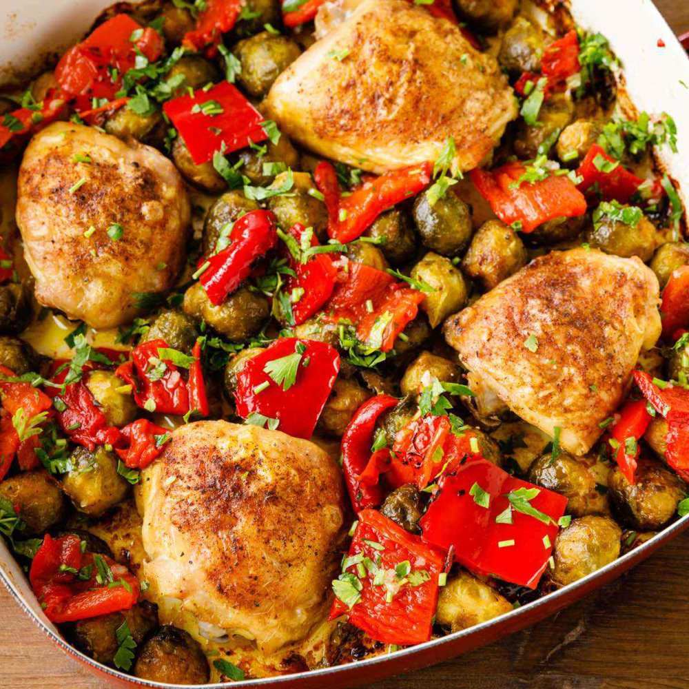 One Pan Chicken Thighs with Roasted Peppers
