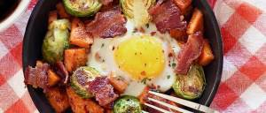 Paleo Mini-Skillet Breakfast with Potatoes, Brussels Sprouts & Bacon