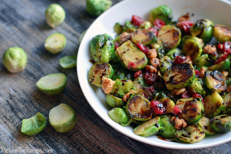 Brussels Sprouts with Cranberries and Balsamic Drizzle