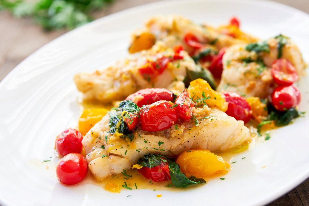 Pan-Roasted Cod with Cherry Tomato Pan Sauce