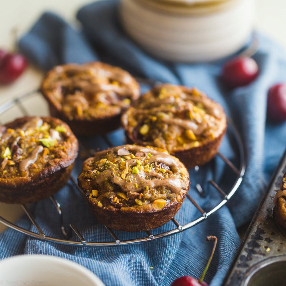 Almond Quinoa Muffins with Cherries, Apricots and Pistachios