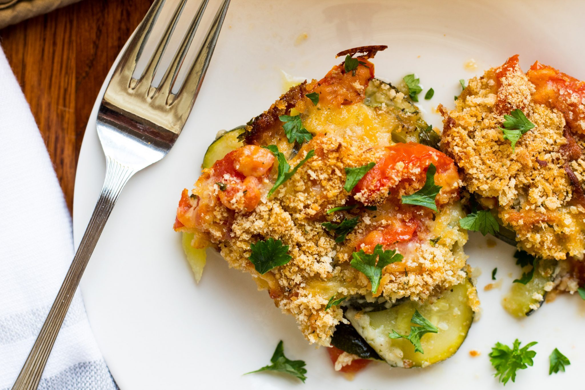 Tomato Zucchini & Mozzarella with Bread Crumb Topping