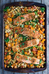 One Pan Salmon and Squash with Couscous