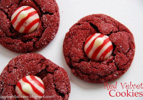 Red Velvet Peppermint Kiss Cookies