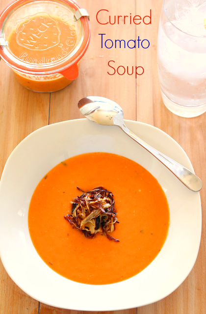Curry Tomato Soup With Onion Nest