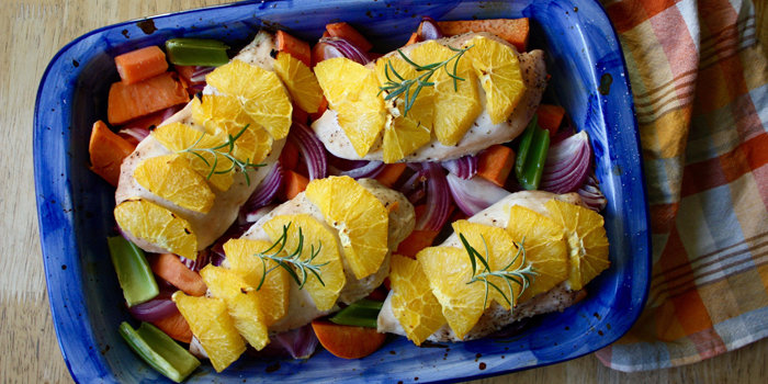 Baked Chicken with Carrots, Oranges, and Sweet Potatoes