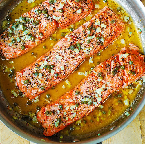 Trout (or Salmon) with Caper-Garlic Lemon Butter Sauce
