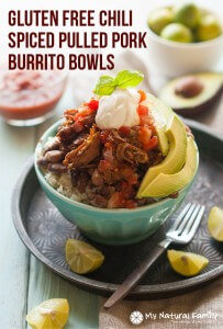 Chili Spiced Pulled Pork Burrito Bowls Crock Pot Recipe {Gluten-Free, Clean Eating, Dairy-Free}