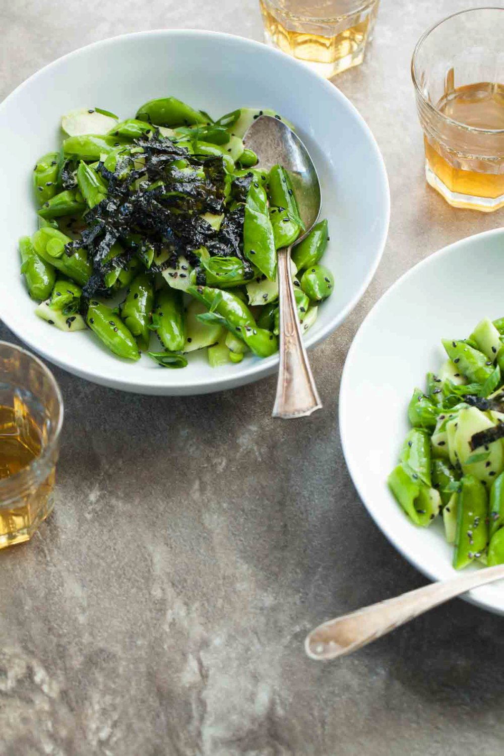 Sesame Snap Pea and Broccoli Stalk Salad (Paleo, Vegan)