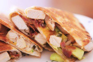 Cheesy Chicken, Bacon and Avocado Quesadillas