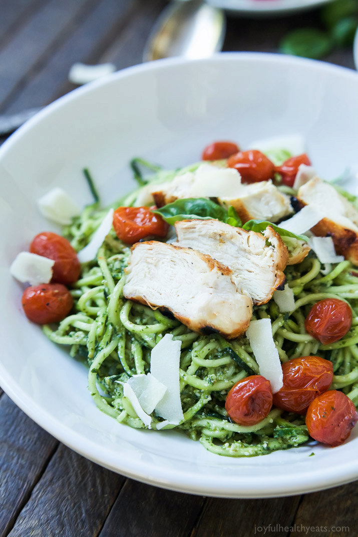 Pesto Chicken Zoodles with Burst Tomatoes