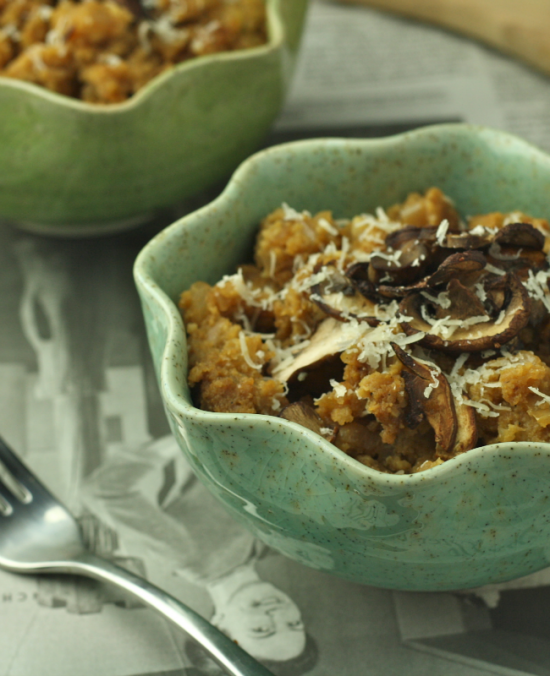 Cauliflower Risotto with Roasted Mushrooms (Low Carb/Paleo/Vegan)
