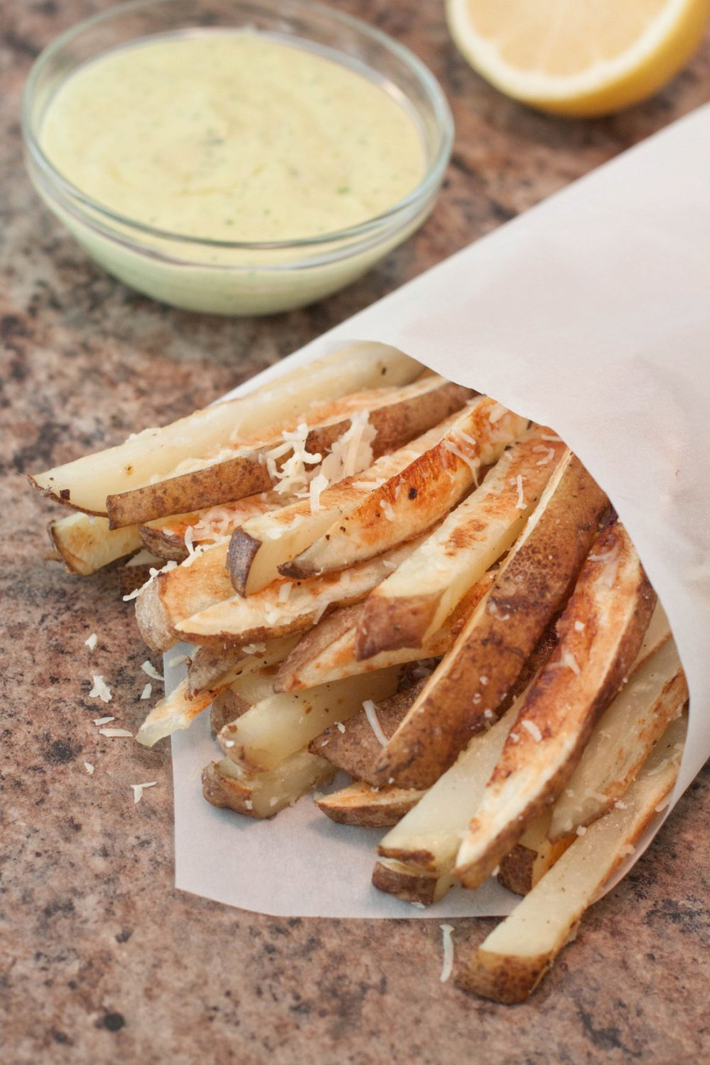 Baked Parmesan Steak Fries with Garlic Aioli Dipping Sauce