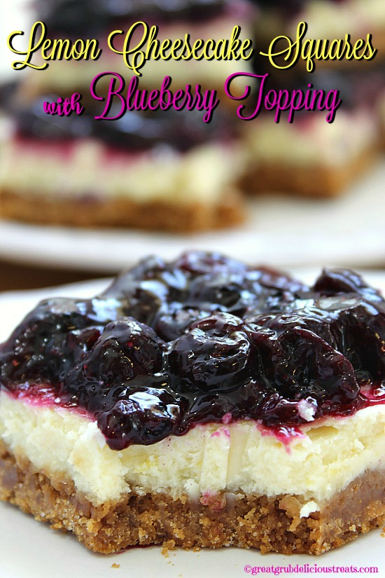 Lemon Cheesecake Squares with Blueberry Topping