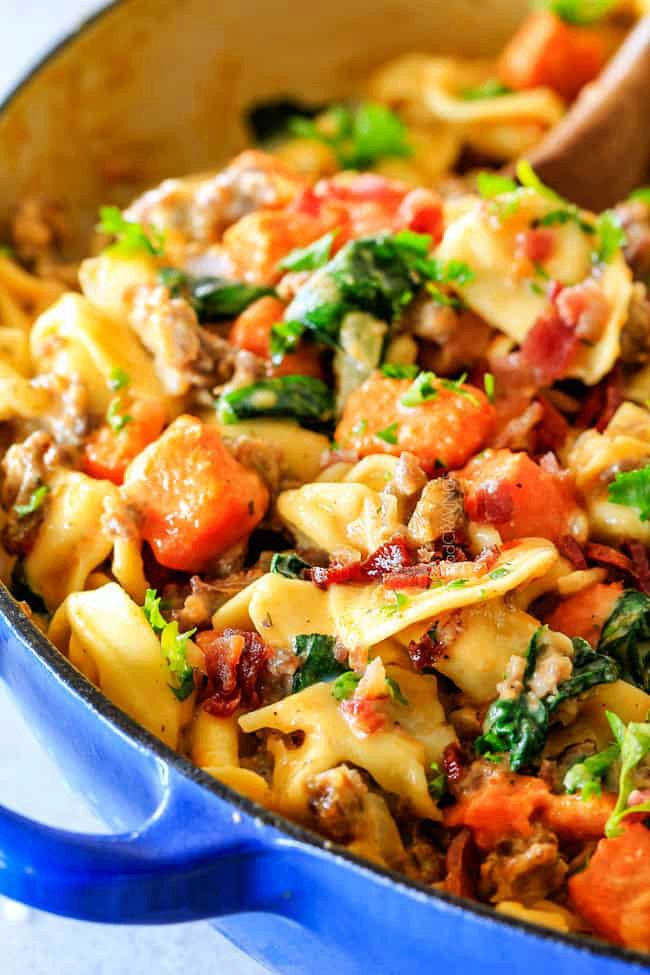 Creamy Tortellini with Sausage, Sweet Potatoes, Spinach and Bacon!