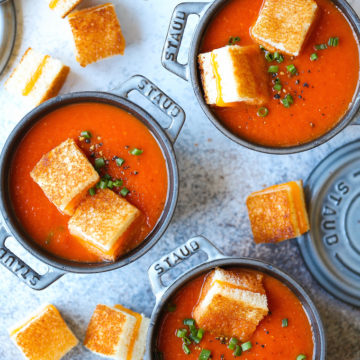 Creamy Tomato Soup with Grilled Cheese