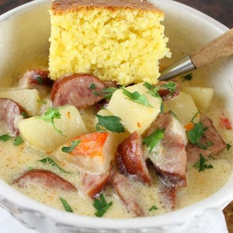 Slow Cooker Cheesy Smoked Sausage and Idaho Potato Soup