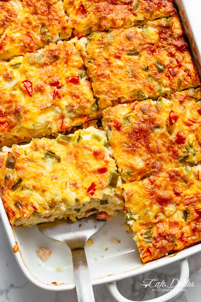 Breakfast Casserole with Hash Browns, Bacon or Sausage!