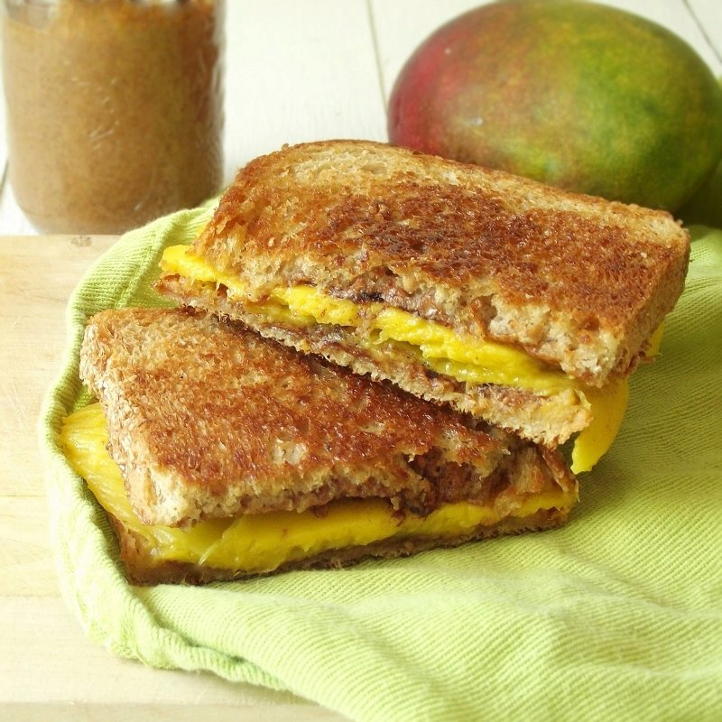 Grilled Almond Butter Mango Sandwich